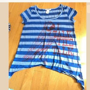 Charlotte Russe Blue Striped Parot T-Shirt